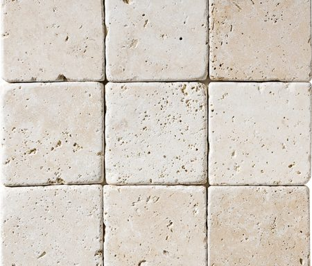 "4″X4"" İvory Tumbled Travertine"