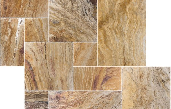 Autumn Blend French Pattern Brushed & Chiseled Travertine