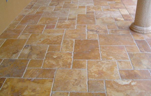 Gold French Pattern Brushed & Chiseled Travertine