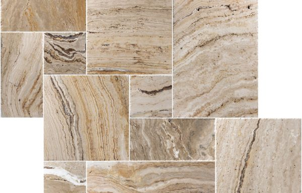 Leonardo French Pattern Brushed & Chiseled Travertine