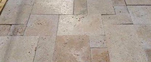 Light Classic French Pattern Brushed & Chiseled Travertine