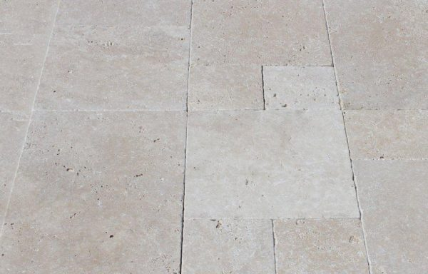 Light Select French Pattern Tumbled Travertine Tile