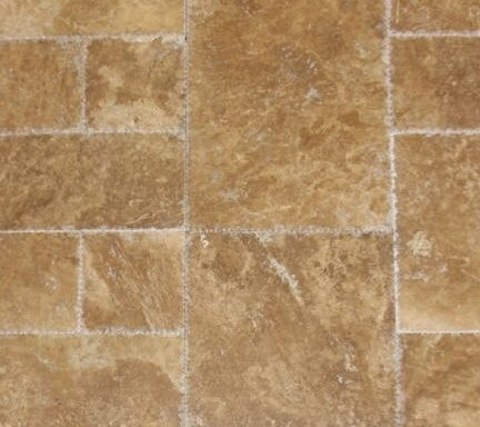 Noche French Pattern Brushed & Chiseled Travertine