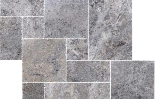 Silver French Pattern Brushed & Chiseled Travertine